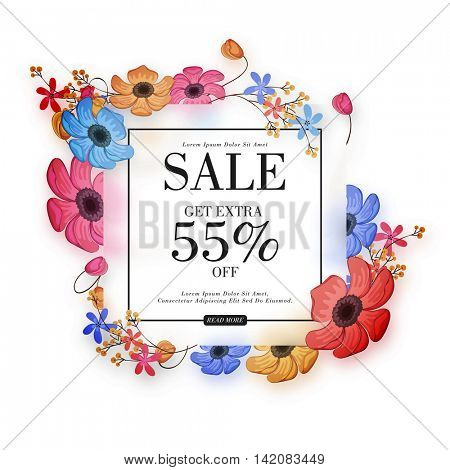 Sale with Extra 55% Off, Beautiful colorful flowers decorated Poster, Banner or Flyer design, Vector illustration.