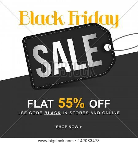 Black Friday Sale with Flat 55% Off, Creative Tag design, Stylish Poster, Banner or Flyer, Vector illustration.