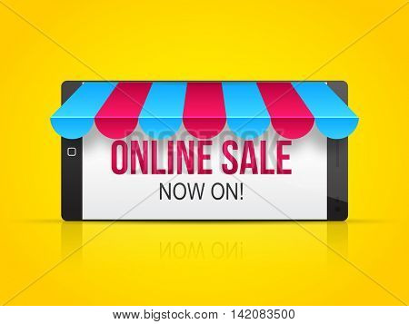 Online Sale Poster, Banner or Flyer design with illustration of glossy smartphone on shiny yellow background.
