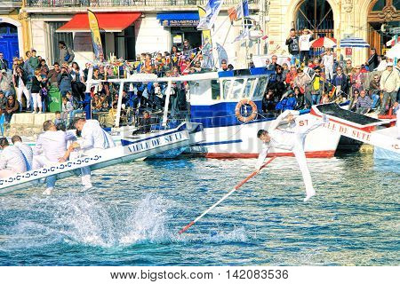 SETE FRANCE - March 26 2016: Water Jousting performance during Stopover in Sete - Maritime Traditions Festival from the 22 to 28 march 2016 at the streets of Sete South of France