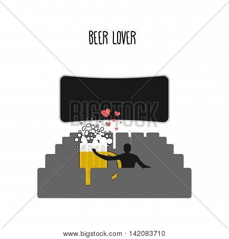 Beer Lover. Beer Mug In Movie Theater. Places For Kisses On  Last Row. Lovers Watching A Movie. Roma