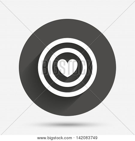 Target aim sign icon. Darts board symbol with heart in the center. Circle flat button with shadow. Vector