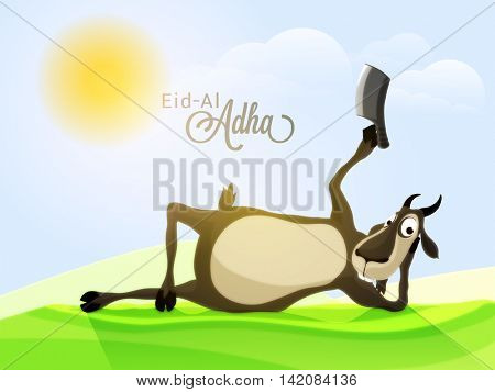 Illustration of a Funny Goat holding a Chopper on Nature background for Muslim Community, Festival of Sacrifice, Eid-Al-Adha Celebration.