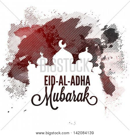 Creative Mosque on abstract background for Muslim Community, Festival of Sacrifice, Eid-Al-Adha Mubarak, Vector greeting card design.