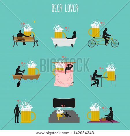 Beer Lover Set. Love Of Beer Mug Collection. Man And Alcohol In Movie Theater. Lovers In Bath. Roman