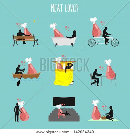 Meat Lovers Set. Love To Collection Of Ham. Man And Ham In Movie Theater. Lovers In Bath. Romantic R