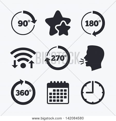 Angle 45-360 degrees circle icons. Geometry math signs symbols. Full complete rotation arrow. Wifi internet, favorite stars, calendar and clock. Talking head. Vector