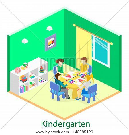 Isometric Interior Of Room In The Kindergarten. Children Draw