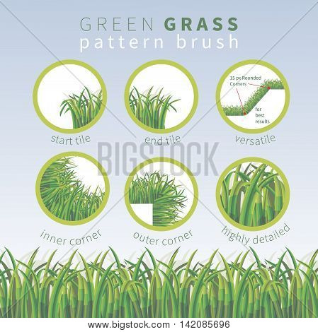 Highly detailed green grass vector pattern brush. Outer and inner corner tiles start and end tiles are included.