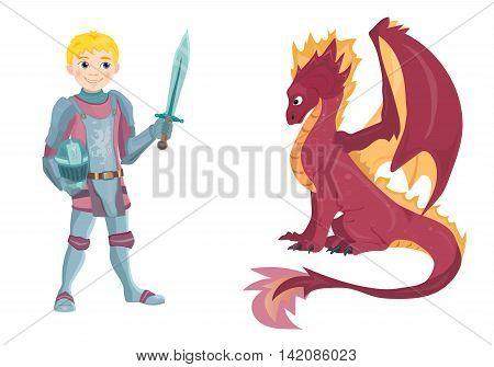 Cartoon knight with fierce dragon on white background vector