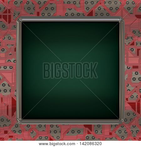 LCD screen on circuit generated texture, 3D illustration