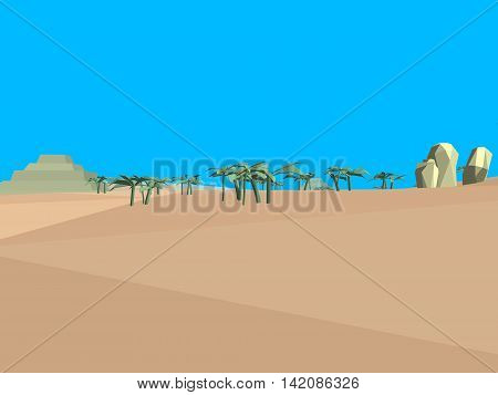 Low poly retro style desert with blue sky, 3D illustration