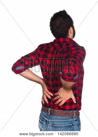 Lumberjack In Plaid Shirt With Back Pain