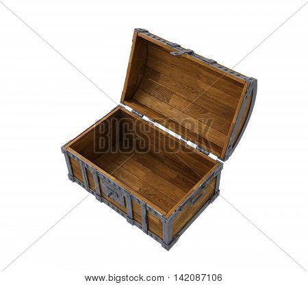 old chest on white background, isolated image