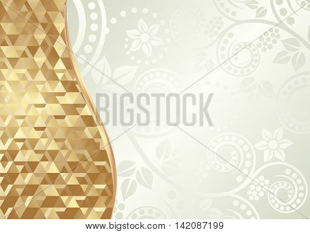floral background and golden texture divided into two