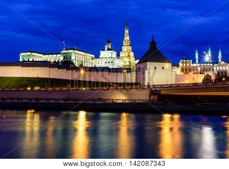 Kazan, Russia - June 12, 2016: night view of Kazan Kremlin in the June 12, 2016, Kazan, Russia.
