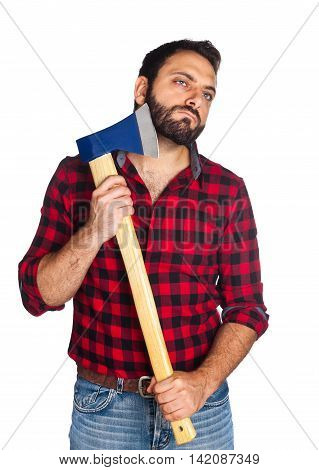 Lumberjack Shaves His Beard With The Ax Blade
