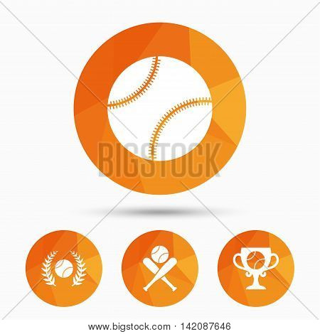 Baseball sport icons. Ball with glove and two crosswise bats signs. Winner award cup symbol. Triangular low poly buttons with shadow. Vector