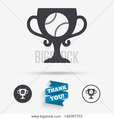 Baseball sign icon. Sport symbol. Winner award cup. Flat icons. Buttons with icons. Thank you ribbon. Vector