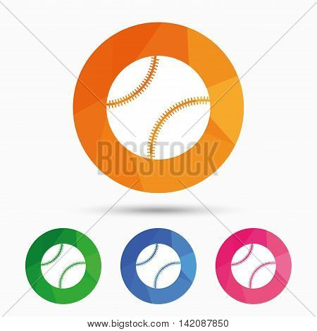 Baseball ball sign icon. Sport symbol. Triangular low poly button with flat icon. Vector