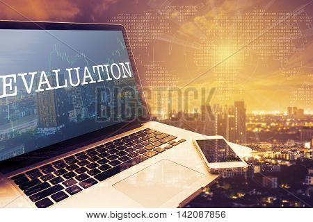 EVALUATION : Grey screen laptop computer. Vintage effects. Digital Business and Technology Concept.