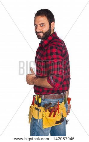 Worker In Plaid Shirt With Thumb Up