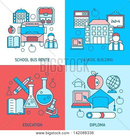 School education linear compositions with bus route study building scientific disciplines diploma isolated vector illustration