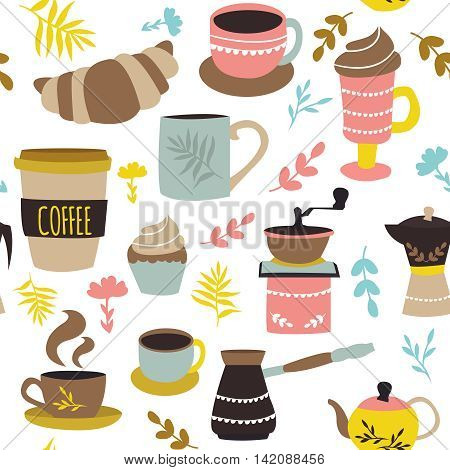 Coffee and pastry seamless pattern with cups pot grinder croissant colorful leaves on white background vector illustration
