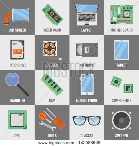 Square computer service icon set with descriptions of lcd screen video card laptop motherboard hard drive cooler tablet glasses and different vector illustration