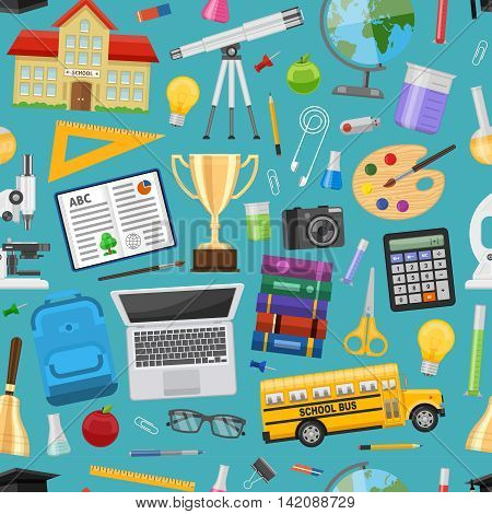 School education seamless pattern with computer bus building stationery laboratory equipment on blue background vector illustration