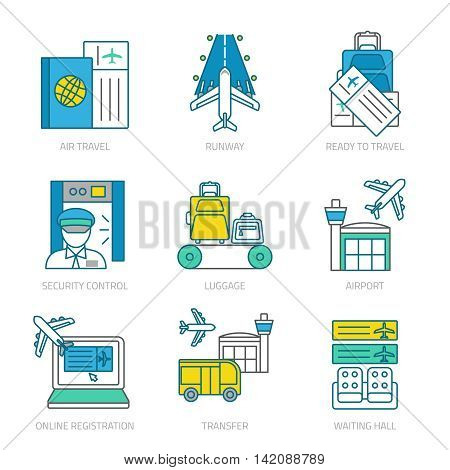 Airport linear elements set with customs and security services transter luggage and travel documents isolated vector illustration