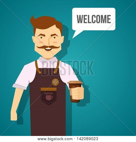 Barista character design with smiling mustached man in brown apron with coffee on blue background vector illustration