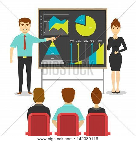 Business people at presentation design of young man and woman near board with digrams statistics vector illustration