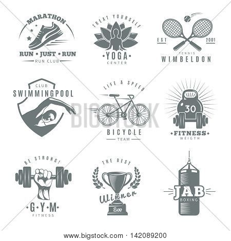 Gray isolated fitness gym label set with marathon run club tennis Wimbledon jab boxing descriptions vector illustration