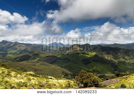 View of The Western Ghats from Rajamalai Hills, Munnar, Kerala, India