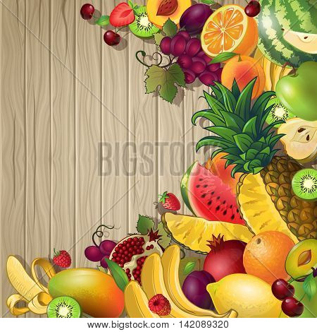 Fruits colored background with set of different fruits and berries on wooden fond vector illustration