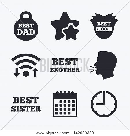 Best mom and dad, brother and sister icons. Weight and flower signs. Award symbols. Wifi internet, favorite stars, calendar and clock. Talking head. Vector