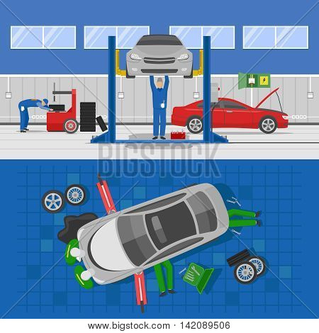 Auto service compositions with workshop interior and repair of car of view from top isolated vector illustration
