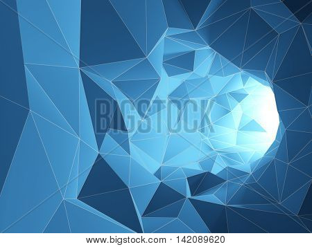 Abstract tunnel from geometric shapes. 3D illustration.