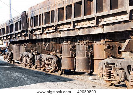 Freight Cars At The Railway Station.