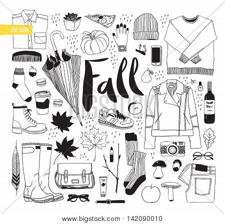 Autumn set. Clothes, shoes and items. Illustration vector. Drawn by hand in black and white objects.
