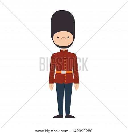 guard man london british queen security hat uniform vector graphic isolated and flat illustration
