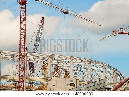 Construction site of football stadium for football championship