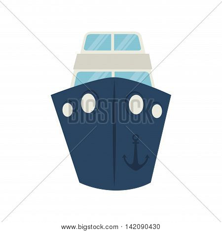 big ship boat cruise anchor front sea ocean titanic vector graphic isolated and flat illustration