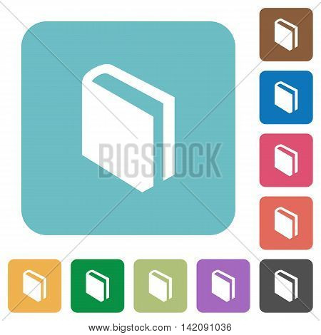 Flat book icons on rounded square color backgrounds.