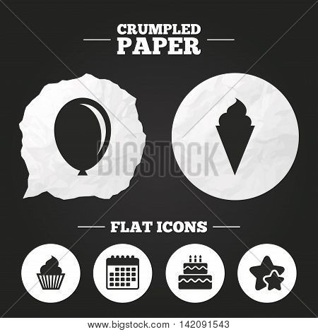Crumpled paper speech bubble. Birthday party icons. Cake with ice cream signs. Air balloon symbol. Paper button. Vector
