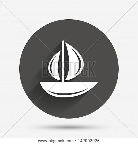Sail boat icon. Ship sign. Shipment delivery symbol. Circle flat button with shadow. Vector
