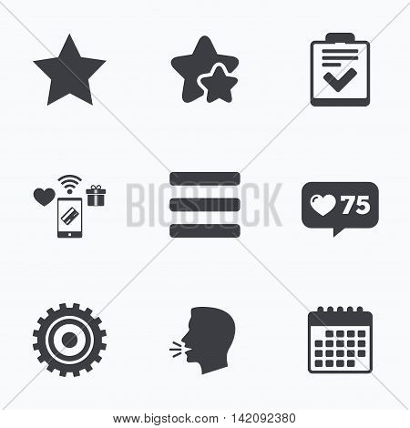 Star favorite and menu list icons. Checklist and cogwheel gear sign symbols. Flat talking head, calendar icons. Stars, like counter icons. Vector