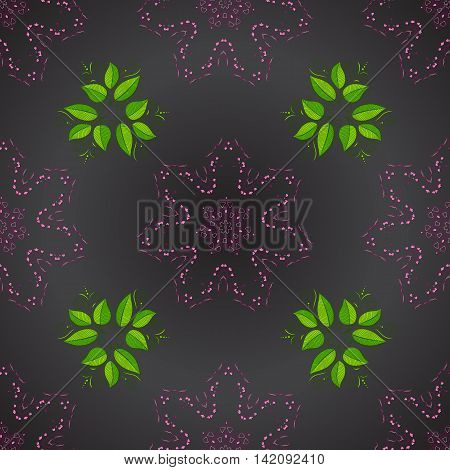 Seamless pattern with green leaves on dark lilac round background