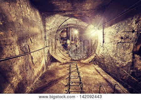 Old Abandoned Coal Mine Ventilation Tunnel.